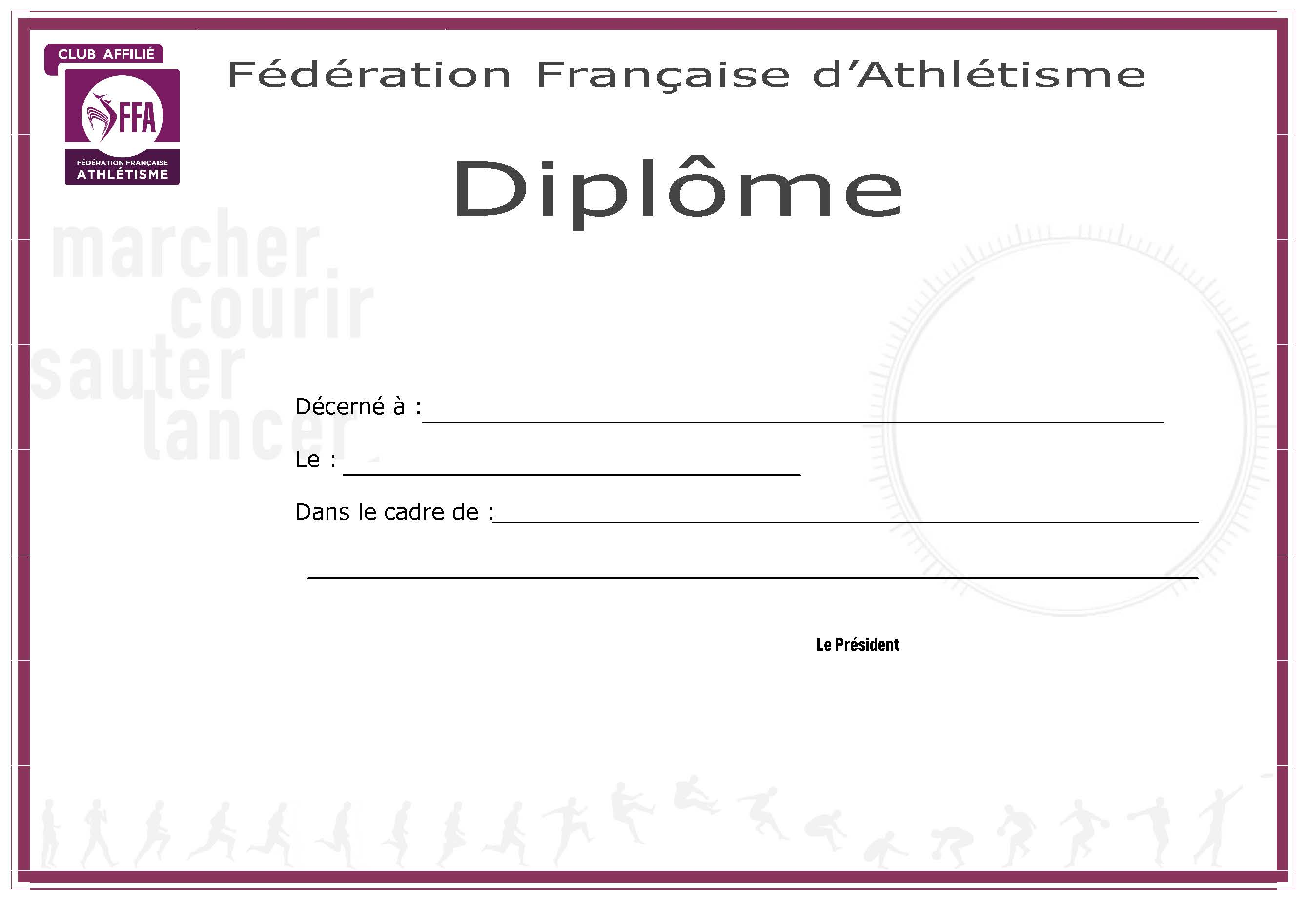 Diplome de sportif imprimer for Diplome de cuisine a imprimer